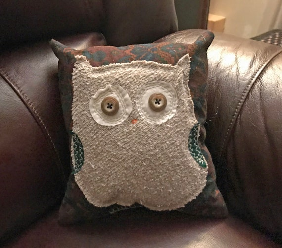 Owl Repurposed Clothes Pillow Sweater on Burgundy Print