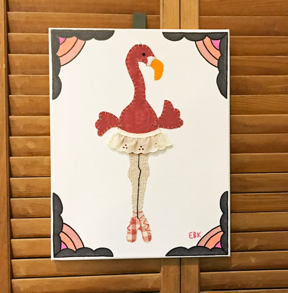 Dancing Flamingo #6 Fabric Wall Art