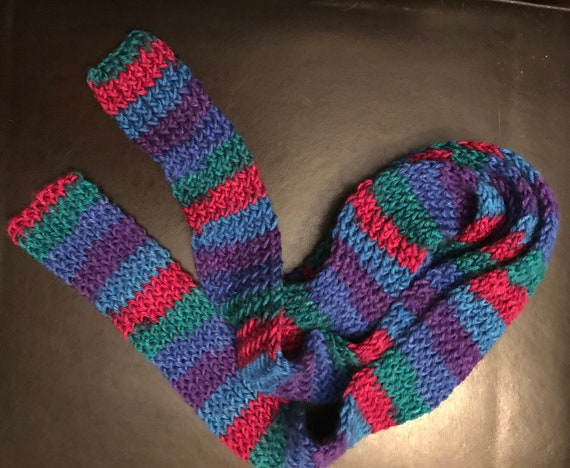 Blue, Purple, Pink and Green Stripe Skinny Wrap Scarf