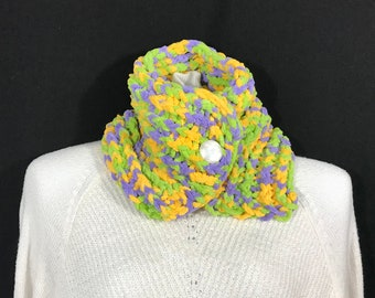 Collar Scarf-Bright Multi Super Soft with Vintage Button