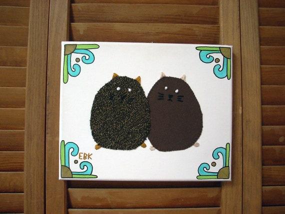 2 Mini Fat Cats #4 Fabric Wall Art