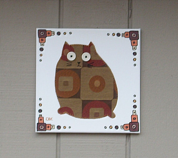 Fat Cat #8 Fabric Wall Art