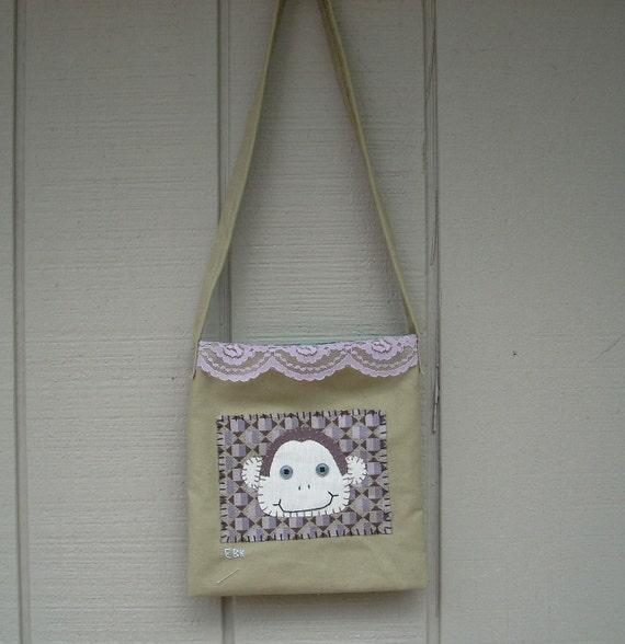 Monkey Head #1 Small Tote Fabric Art