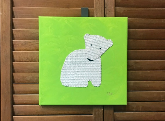 Sitting Polar Bear #4 Fabric Wall Art