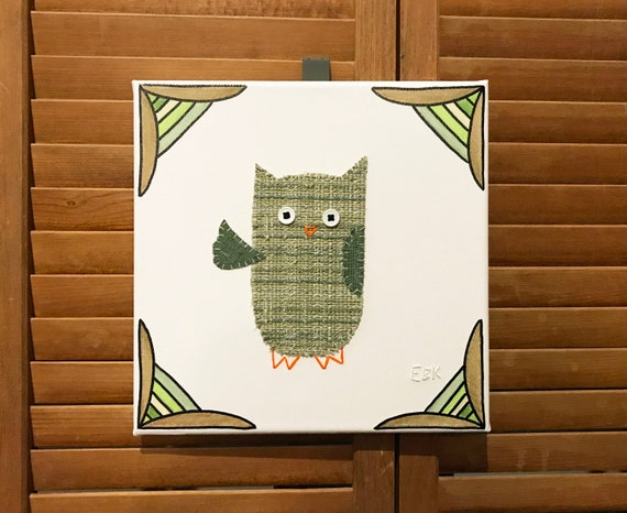 Waving Owl #5 Fabric Wall Art