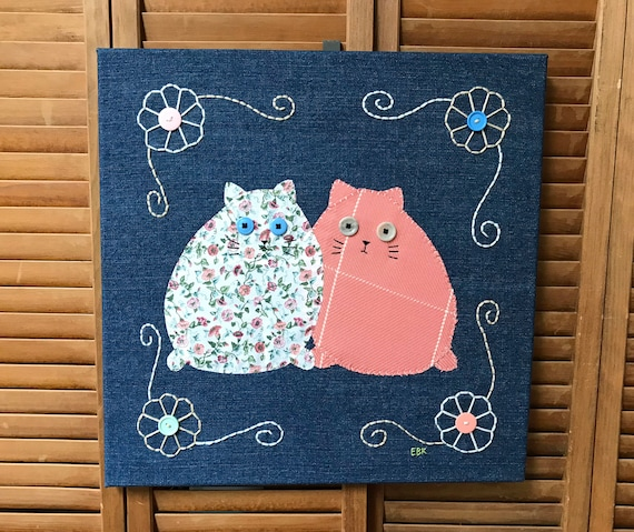 2 Fat Cats #2 Fabric Wall Art
