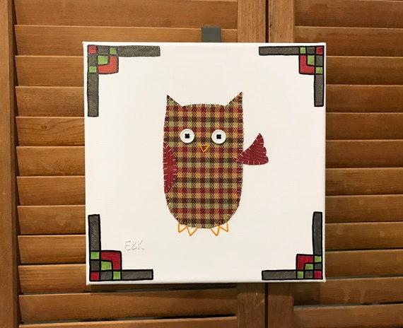 Waving Owl #6 Fabric Wall Art