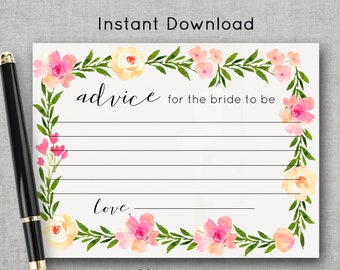 Advice for the Bride Card   Floral Bridal Shower Game Printable   Wedding Shower Advice Instant Download   Bachelorette Party Printable