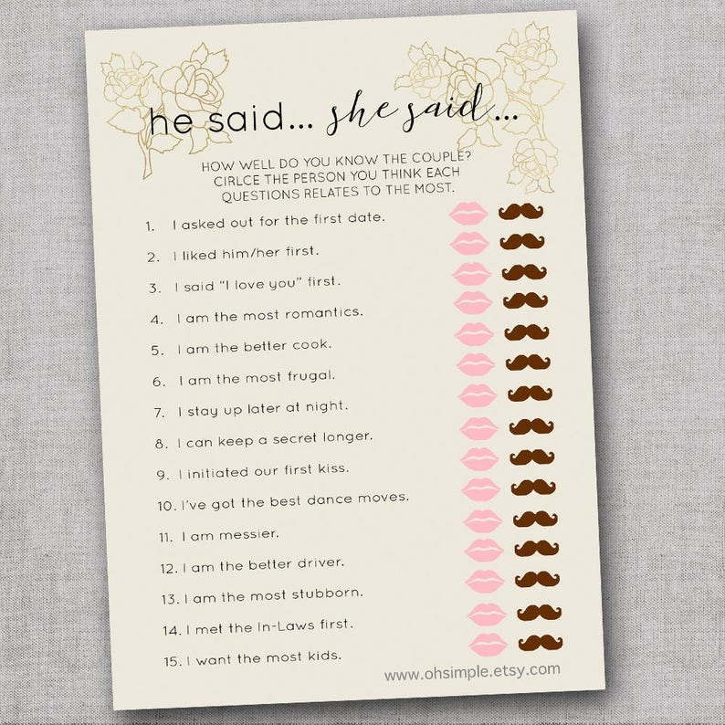 Bridal Shower Games Bundle Printable How Well do you Know the Bride Bachelorette Party Games He Said She Said Game