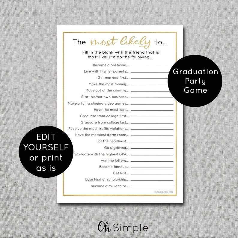 Graduation Party Games Funny Graduation Party Game Editable Most Likely To Game Graduation Party Decorations Printable