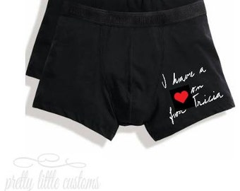 Personalised mens boxer briefs - I have a heart on for (your name) - funny/joke boyfriend/husband/partner valentines day
