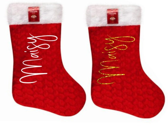 b8d8416a846 Personalised kids family Christmas stocking your name print