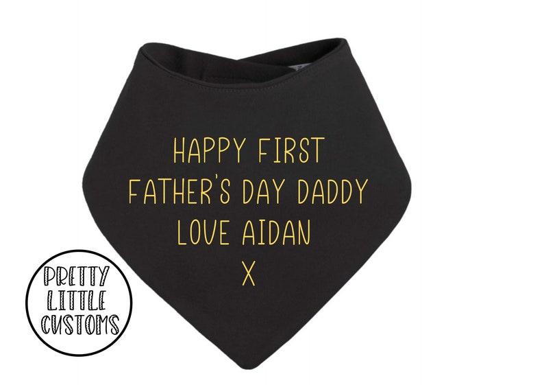 blackyellow Personalised Happy First Father/'s Day print bandana bib