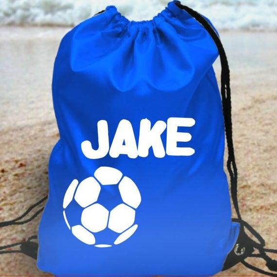 NEW PERSONALISED BOYS FOOTBALL KIT PE PUMP GYM SCHOOL DRAWSTRING BAG