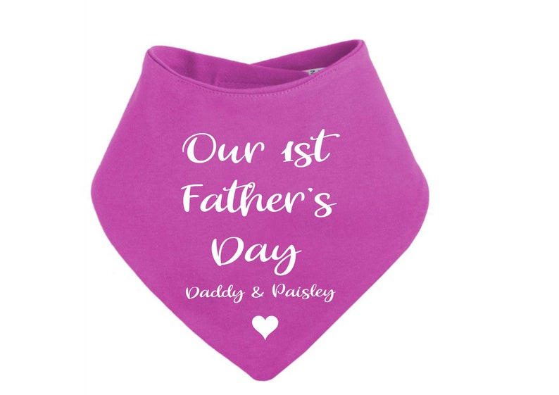 Personalised Our First Father/'s Day elephant print bandana bib black//mint