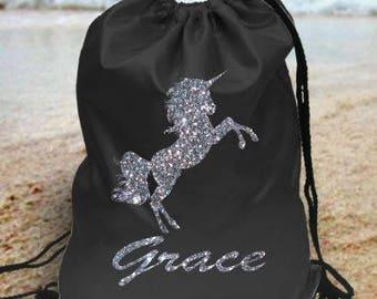 Glitter unicorn Personalised kids gym bag school bag pe bag - - your name - design