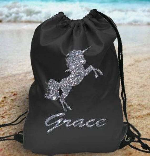 95f769df268 Glitter unicorn Personalised kids gym bag school bag pe bag   Etsy