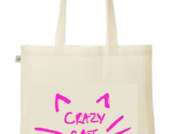 Funny/joke/cute Carzy cat lady, wars whiskers printed tote/shopper bag