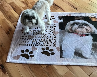 Put a name on it! Custom personalized with his/her name & photo dog bed, blanket,small-large dogs,minky fleece,plush,sherpa lining pet gift