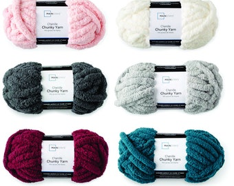 LARGE Rolls Chunky Chenille Yarn for Hand Knitting, 7 colors, Super soft and easy to work with