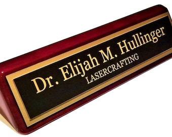 Executive Rosewood Piano Finish Office Name Plate - Personalized