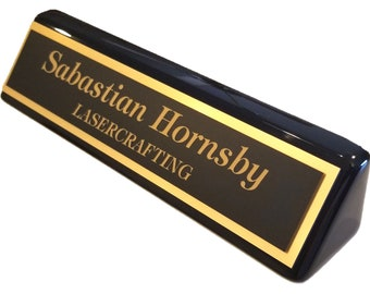 Executive Black Piano Finish Office Name Plate - Personalized
