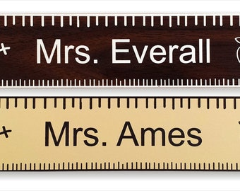 """Teacher Name Plate 2"""" x 8"""" inches - Personalized, Laser-Engraved"""