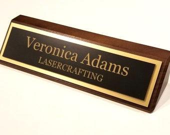 Executive Black Walnut Office Name Plate Personalized