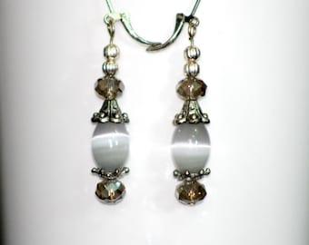 Nickel Free Earrings, Gray Glass Crystal Beads Dangle Earrings,Swarovski Gray Crystal Silver Earrings,Gray Glass Bead Dangle Silver Earrings