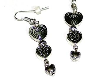 Silver Triple Heart Earrings,Triple Heart Silver Earrings,Hearts Silver Earring,Love Heart Silver Earring,Triple Silver Heart Dangle Earring