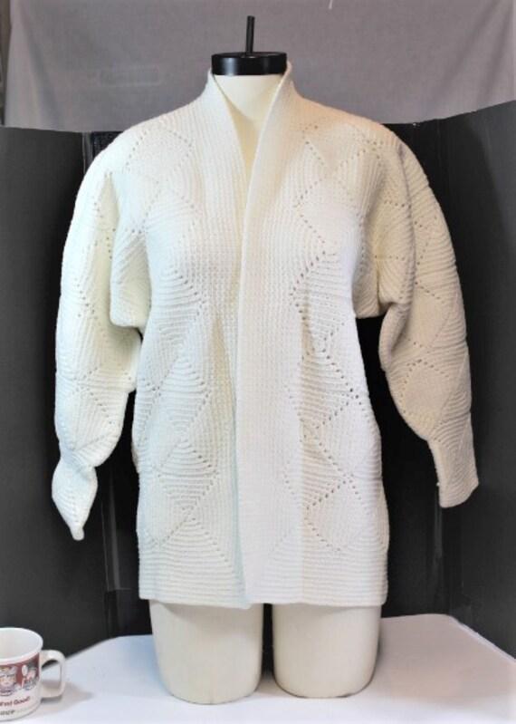 White Crochet Cardigan,White Crochet Block Cardig… - image 2