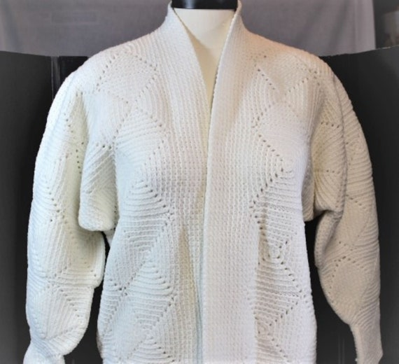 White Crochet Cardigan,White Crochet Block Cardiga