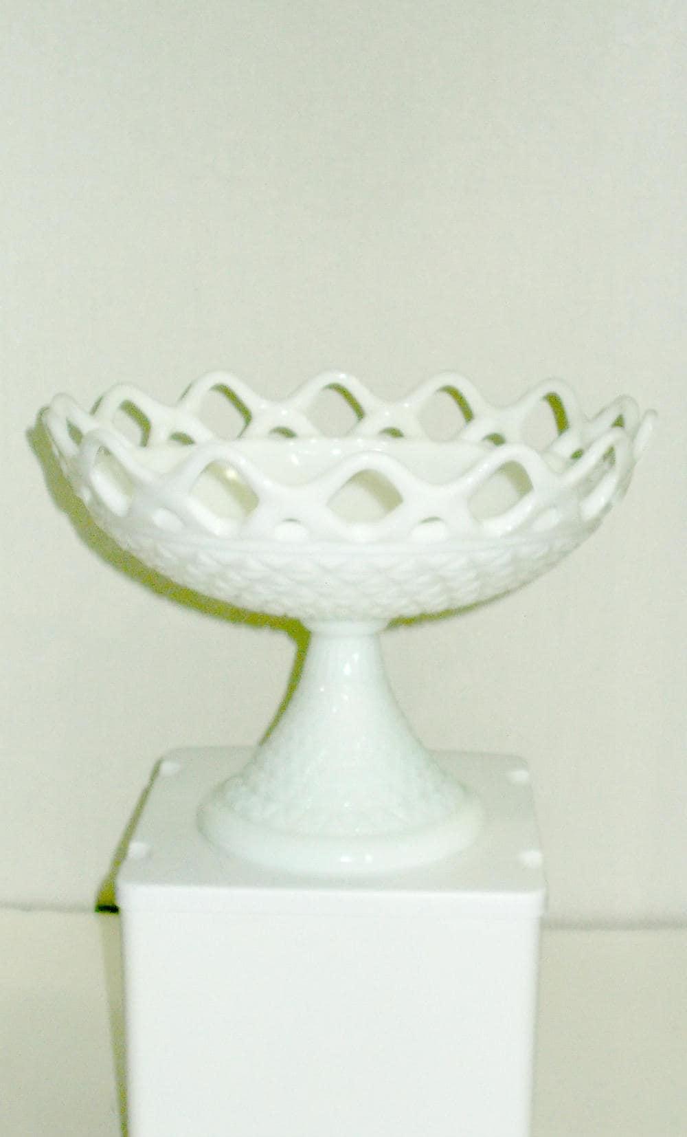 zoom Large Milk Glass Pedestal BowlImperial Fruit
