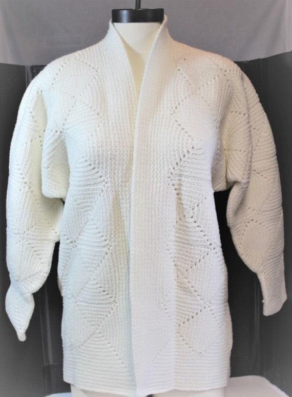 White Crochet Cardigan,White Crochet Block Cardig… - image 3
