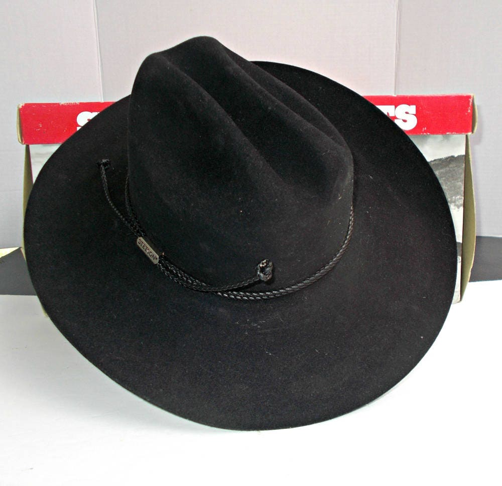 NIB 4X Beaver Hat6 7 8 Black Stetson Beaver Cowboy HatBlack  c4f3315df04