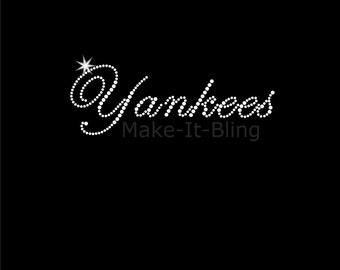 DIY Rhinestone Iron On Heat Transfer Go Yankees Baby!  1 Baseball Team Name 52ca57f27e8d