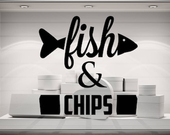 Fish and Chips vinyl decal sticker. Various colours and size options.(#210)