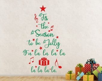 Tis the Season to be Jolly Decal Christmas Wall Art Stickers Mirror Window