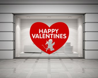 Happy Valentines Cupid & Heart Wall/Window Decal Sticker. Any colour and size.(#103)