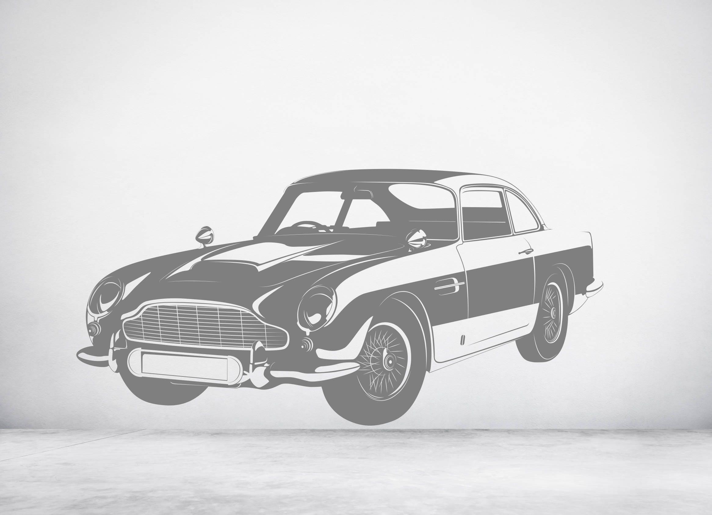 classic aston martin db5 james bond 007 car. vinyl wall art | etsy