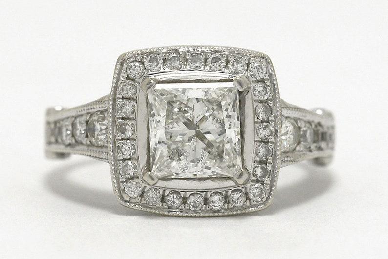 e98e4d2be 2.60 Carat Princess Cut Diamond Engagement Ring Halo Square | Etsy