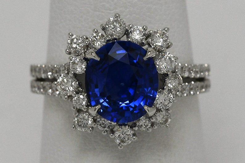 d596c98b5add3 Over 3 Carat Oval Blue Sapphire 18K White Gold Vintage Diamond Halo Target  Cluster Engagement Ring Double Band Split Shank Statement Jewelry