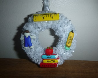 Teacher Ornament #3 / Christmas Ornament / Mini Wreath Ornament