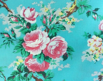 Springtime Pink and White Flowers Fabric Large Print