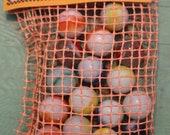 Antique Net Mesh Bag Of Morton Salt Marbles 16 Peltier Rainbows Marble King Packaging