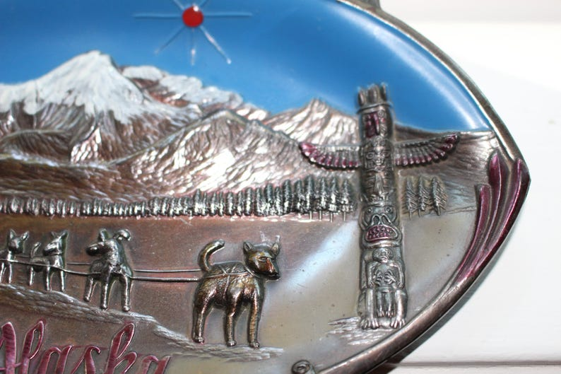 Vintage Copper Alaska Souvenir Tray Made In Japan Dogs Totem Pole,Mountains