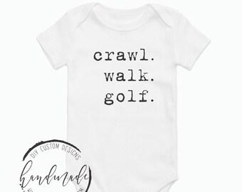 Crawl Walk Golf Onesie® Golfer Baby Bodysuit, Custom Golf Onesie® Golfer Baby, Funny Baby Oneises®, Baby Shower Gift