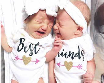 Best Friends Twins Baby Onesies®, Twins Coming Home Outfit, Best Friends Babies, Baby Bodysuit, Newborn Outfit, Baby Shower Gift, Set of 2