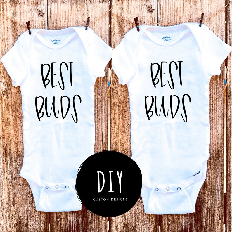 Baby Shower Gift Best Buds Twins  Baby Onesies\u00ae Baby Bodysuit Set of 2 Twins Baby Onesies\u00ae Best Buds Twins Coming Home Outfit Newborn