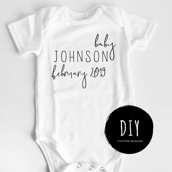 Custom Baby Name Pregnancy Announcement Reveal Onesie Photo Prop Outfit Unisex